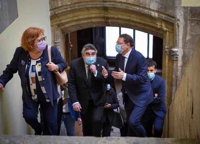 La delegada del Gobierno en la Comunitat Valenciana, Gloria Calero, el ministro de Cultura, José Manuel Rodríguez Uribes, y el presidente de la Generalitat Valenciana, Ximo Puig.