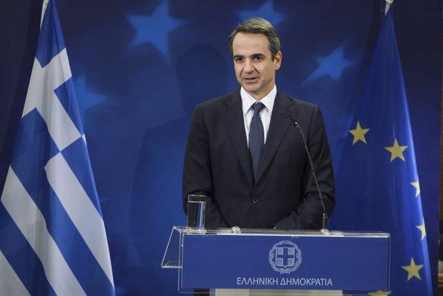 Kiriakos Mitsotakis, en una comparecencia en Bruselas