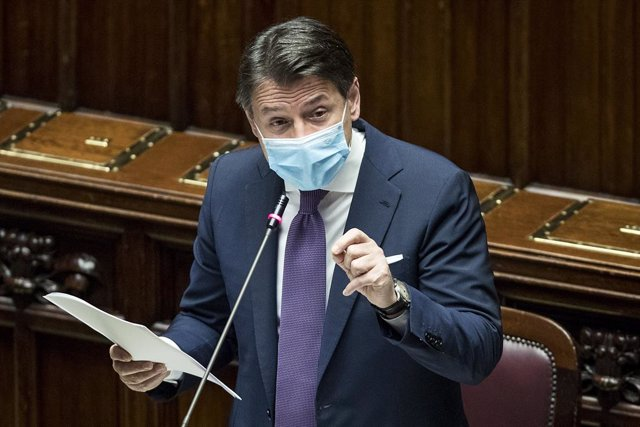 29 October 2020, Italy, Rome: Italian Prime Minister Giuseppe Conte speaks durin