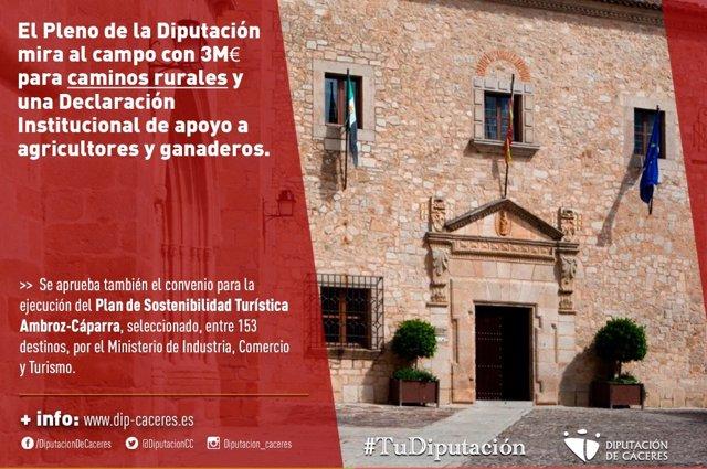 La Diputación de Cáceres aprueba una declaración de apoyo al campo