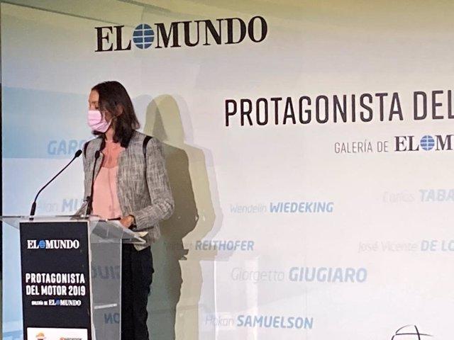 La mistra de Industria, Turismo y Comercio, Reyes Maroto, en la entrega del premio Protagonista del Motor 2019 Galería de 'El Mundo'.