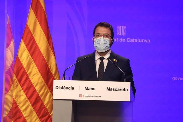 El vicepresidente de la Generalitat, Pere Aragonès, en rueda de prensa telemática.