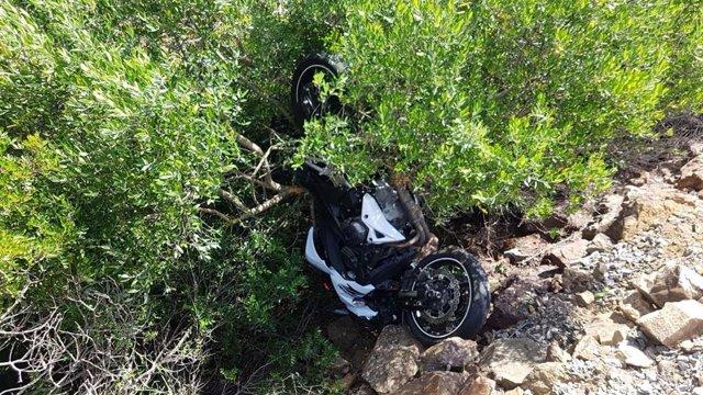 Moto tras un accidente.