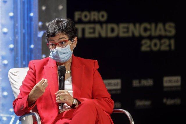 """La ministra de Asuntos Exteriores, Unión Europea y Cooperación, Arancha González Laya, interviene en el Foro Tendencias 2021 organizado por el diario """"El País"""" y la consultora de comunicación """"kreab"""", en el Espacio Fundación Telefónica, Madrid (España), a"""