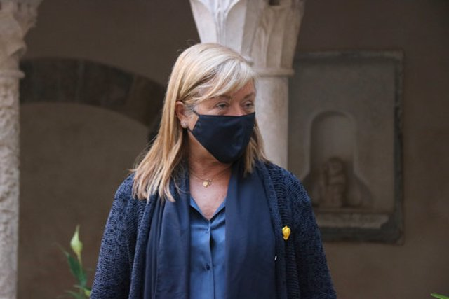 Pla curt de la consellera de Cultura, Àngels Ponsa, en una visita al Monestir de Sant Daniel de Girona aquest dijous 29 d'octubre de 2020. (Horitzontal)