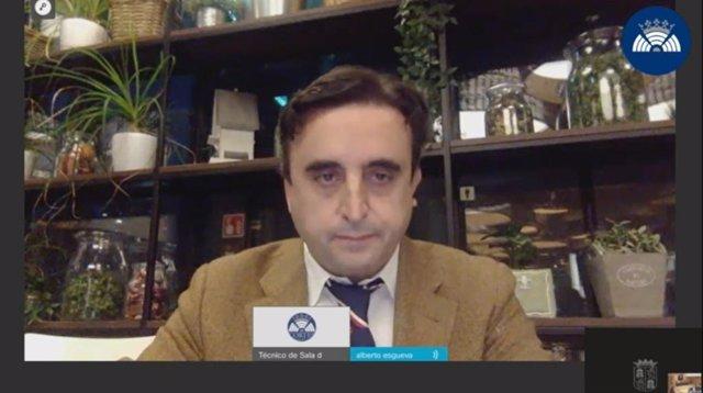 Alberto Esgueva, durante su declaración vía telemática en las Cortes de CyL.