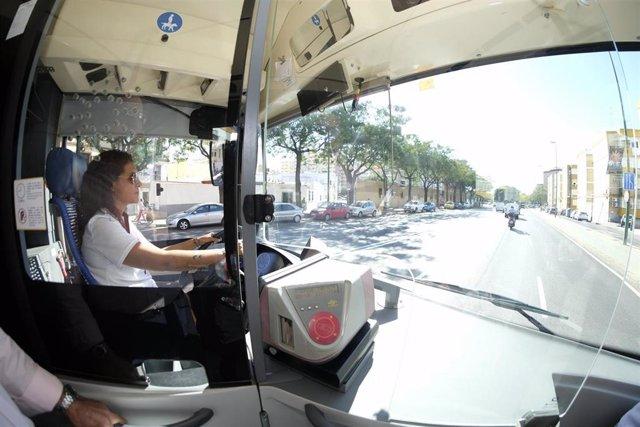 Interior de un autobús de Tussam