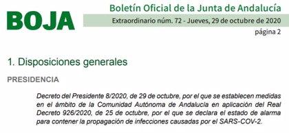La Junta publica 'in extremis' el BOJA que regula el cierre perimetral de Andalucía y el confinamiento de 449 municipios