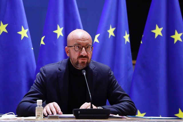 HANDOUT - 29 October 2020, Belgium, Brussels: European Council President Charles Michel attends a virtual EU summit, held to discuss the fight against coronavirus second wave. Photo: Dario Pignatelli/European Council /dpa - ATTENTION: editorial use only a