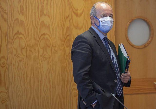 El ministre de Justícia, Juan Carlos Campo, després d'una conferència a la Universitat Pablo de Olavide. Sevilla, Andalusia (Espanya), 19 d'octubre del 2020