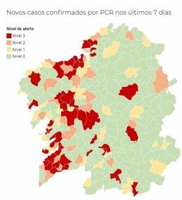 Incidencia del coronavirus a 7 días por municipios gallegos, actualizado a 30 de octubre de 2020.