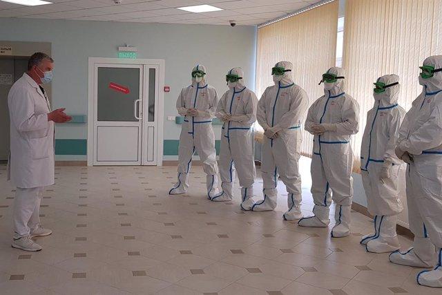 Unidad especializada en coronavirus del Centor Médico Nacional Pirogov, en Moscú