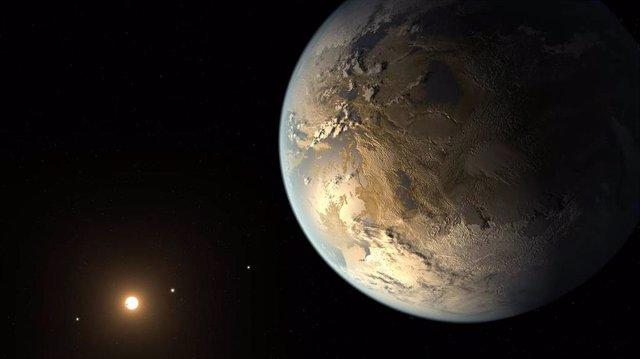 Esta ilustración muestra a Kepler-186f, el primer planeta validado del tamaño de la Tierra que orbita una estrella distante en la zona habitable.