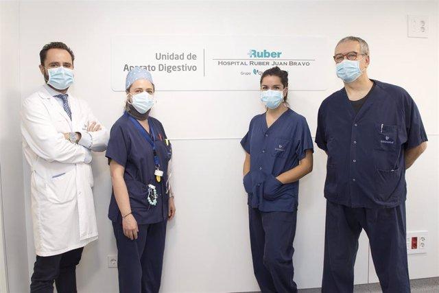 El equipo del Servicio de Aparato Digestivo del complejo hospitalario Ruber Juan Bravo.