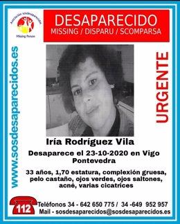 Iria Rodríguez Vila, mujer de 33 años desaparecida en Vigo.