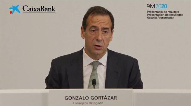 El consejero delegado de CaixaBank, Gonzalo Gortázar, este viernes en rueda de prensa