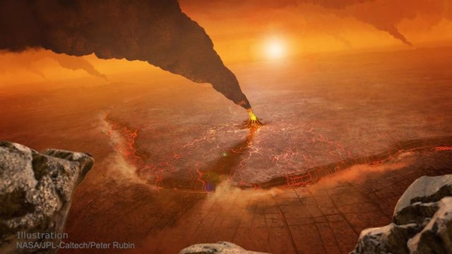 Ilusración de un volcán en Venus