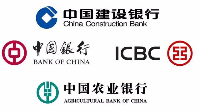 Logos de los cuatro grandes bancos de China: ICBC, Bank of China, China Construction Bank y Agricultural Bank of China. Gran banca china.