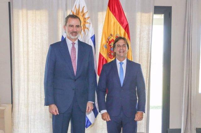 El Rey Felipe VI y Luis Lacalle Pou