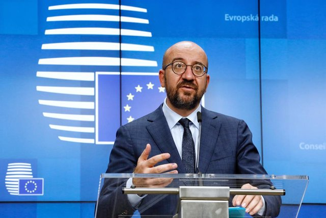 HANDOUT - 16 October 2020, Belgium, Brussels: European Council President Charles Michel speaks at a press conference after the end of a two days European Council summit, focusing on post-Brexit trade deal negotiations. Photo: Dario Pignatelli/European Cou