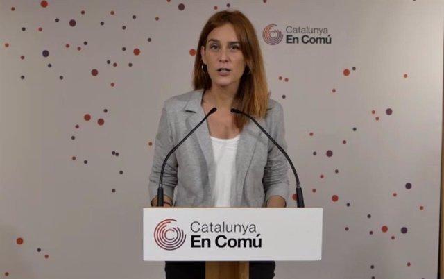 La presidenta dels comuns al Parlament, Jéssica Albiach, en una roda de premsa telemàtica.
