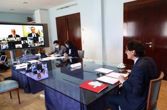 El ministro de Sanidad, Salvador Illa, ha mantenido hoy un encuentro con sus homólogos de la Unión Europea.