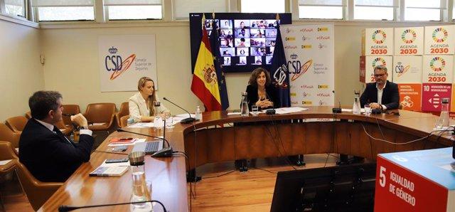 La presidenta del CSD, Irene Lozano, en una reunión telemática con deportistas del Plan ADO