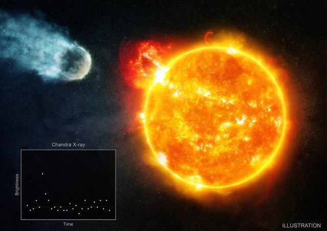 Recreación de la estrella de Barnard y el mundo conocido que la orbita