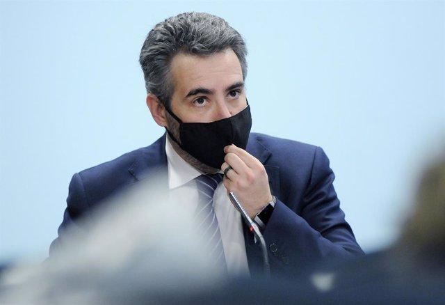 El ministre Portaveu d'Andorra, Eric Jover, en roda de premsa.