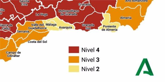 Mapa de alerta sanitaria en la provincia de Málaga