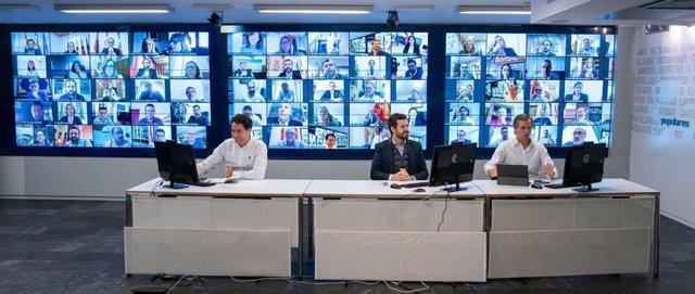 El presidente del PP, Pablo Casado, el secretario general del partido, Teodoro García Egea, y el vicesecretario de Política Territorial, Antonio González Terol.