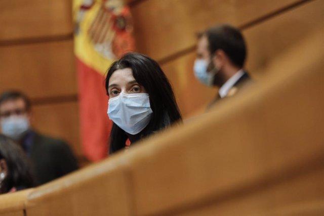 La presidenta del Senat, Pilar Llop, durant una sessió de control al Govern en la Cambra alta, a Madrid (Espanya).