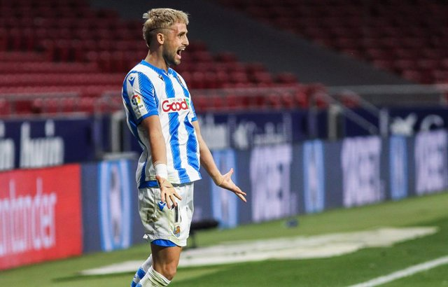 Adnan Januzaj of Real Sociedad celebrates a goal during the spanish league, La Liga, football match played between Atletico de Madrid and Real Sociedad at Wanda Metropolitano Stadium on July 19, 2020 in Madrid, Spain.
