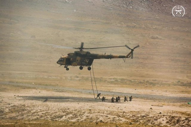 Militares del Ejército afgano en unos ejercicios de las Fuerzas Armadas afganas