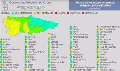 Mas de una veintena de concejos asturianos estarán este domingo en riesgo 'alto' de sufrir incendio forestal