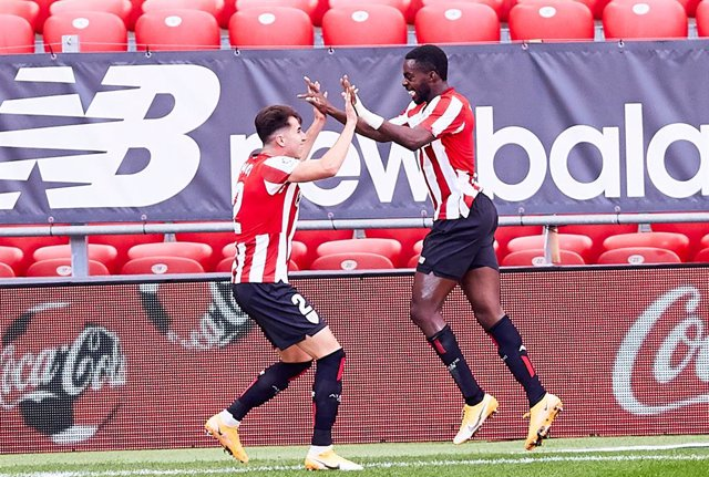 Inaki Williams of Athletic Club celebrates his goal during the Spanish league, La Liga Santander, football match played between Athletic Club de Bilbao and Levante UD at San Mames stadium on October 18, 2020 in Bilbao, Spain.