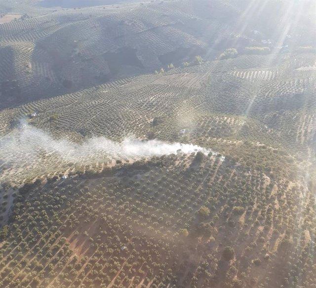 Vista aérea de un incendio declarado en la provincia este mes de octubre