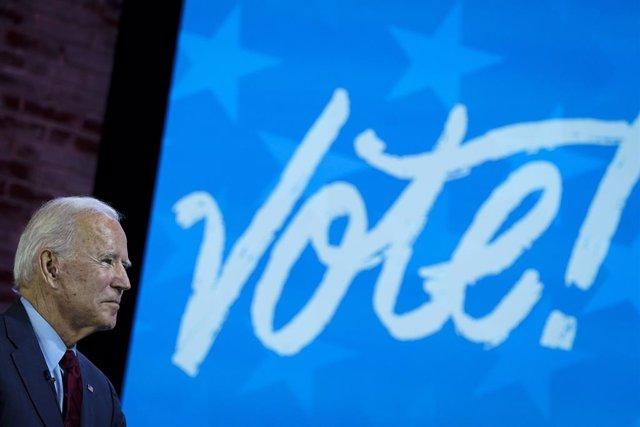 Joe Biden durante un acto de campaña