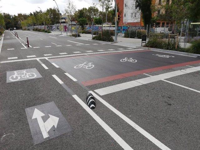 El nou carrer del Marroc a Barcelona, després de les obres d'urbanització.