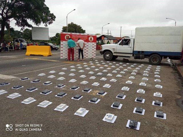 Cocaína incautada por la Guardia Nacional Bolivariana de Venezuela