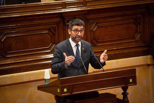 El conseller de Polítiques Digitals i Administració Pública de la Generalitat, Jordi Puigneró, en el ple sobre coronavirus del Parlament, el 2 de juliol del 2020.