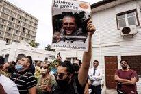Protesta para pedir la liberación de un periodista