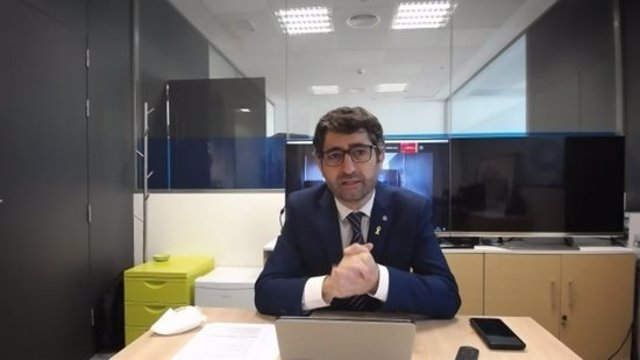 Pla mitjà del conseller de Polítiques Digitals i Administració Pública, Jordi Puigneró, en la roda de premsa telemàtica sobre el Ripollès el 2 de novembre del 2020. (horitzontal)