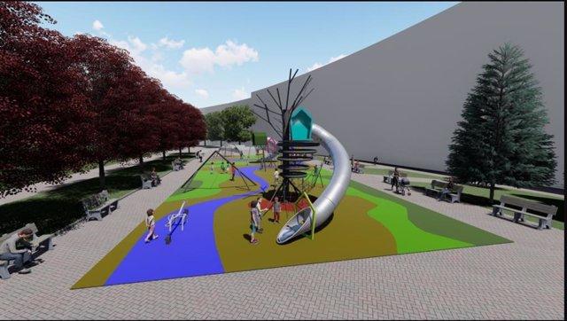 Infografía de lasnuevas zonas deportivas y de juegos en parque Eskurtze.
