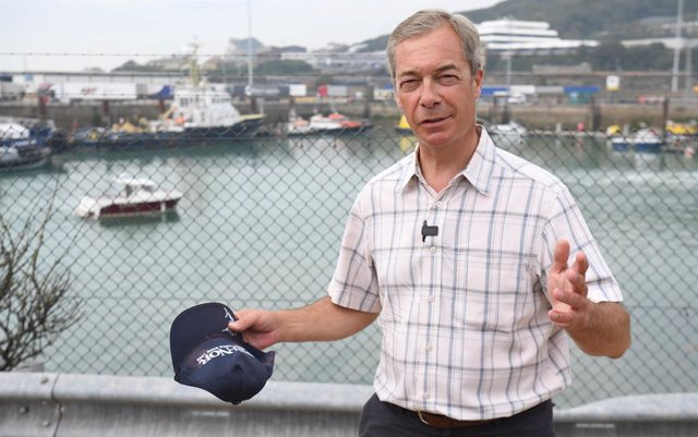 12 August 2020, England, Dover: Nigel Farage arrives at Dover, where people thought to be migrants have previously been brought ashore by Border Force officers following a number of small boat incidents in the English Channel. Photo: Kirsty O'connor/PA Wi