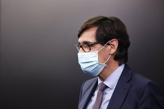 El ministre de Sanitat, Salvador Illa, compareix en roda de premsa per detallar el projecte dels PGE 2021. La Moncloa, Madrid (Espanya), 30 d'octubre del 2020.
