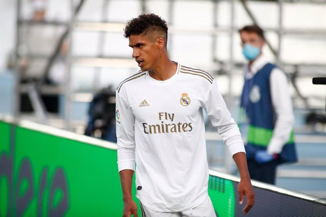 Raphael Varane of Real Madrid looks on during the spanish league, LaLiga, football match played between Real Madrid and SD Eibar at Alfredo Di Stefano Stadium at Ciudad Deportiva Real Madrid in the restart of the Primera Division tournament after to the c
