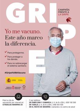 Cartel de la campaña de vacunación contra la gripe
