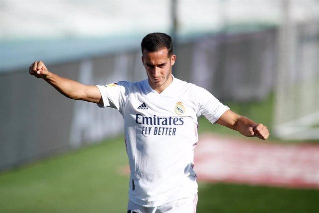 Lucas Vázquez durante el partido entre el Real Madrid y el Huesca de LaLiga Santander 2020-2021