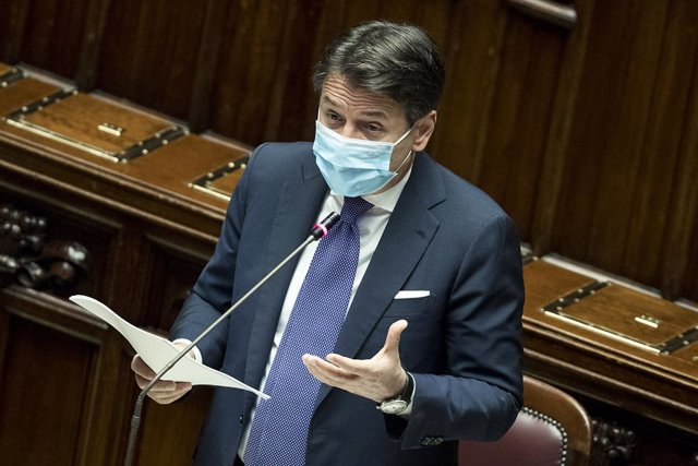 02 November 2020, Italy, Rome: Italian Prime Minister Giuseppe Conte speaks during a plenary session at the Chamber of Deputies on the government's plan to fight the increase of coronavirus cases. Photo: Roberto Monaldo/LaPresse via ZUMA Press/dpa
